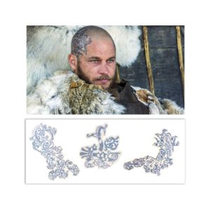 Vikings Ragnar Travis Fimmel Production Used Head Tattoo Art Transfer Pieces