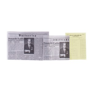 Fargo Ethelrida Pearl Smutney Emyri Crutchfield Production Used Mortuary Invoice & News Paper Set