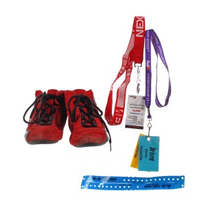 Lot #80 – Driven (2001) Production Used Shoes Filming Crew IDs Lanyards & Wristband