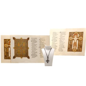Lot #34 – Vikings Athelstan George Blagden Production Used Cross Necklace Christ Book Page Set Ss 1-2