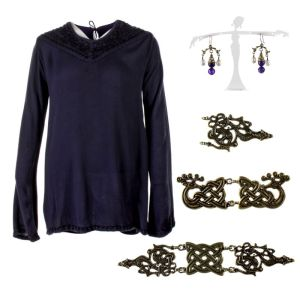 Lot #169 – Vikings Lagertha Katheryn Winnick Production Worn Shirt Earrings & Headpieces