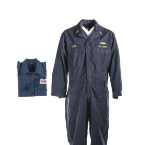 "Lot #42 – Battleship (2012) Chief Petty Officer Walter ""The Beast"" Lynch John Tui Screen Worn US Navy Coverall & Japan Navy Member Shirt"