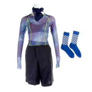 Lot #52 – Bill & Ted Face The Music (2020) Billie Brigette Lundy Paine Screen Worn Shirt Set Shorts Scarf & Socks Ch #2