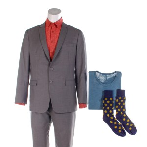 Lot #36 – Bill & Ted Face The Music (2020) Ted Production Worn Ted's Suit Shirt Socks & Bill's Production Shirt Ch 2