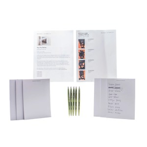 Lot #24 – Candyman Brianna Cartwright Teyonah Parris Production Used Notepad Set Laundromat Pen Set & Art Gallery Guides