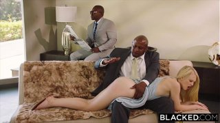 Lily Rader Submissive girlfriend punished by two black men