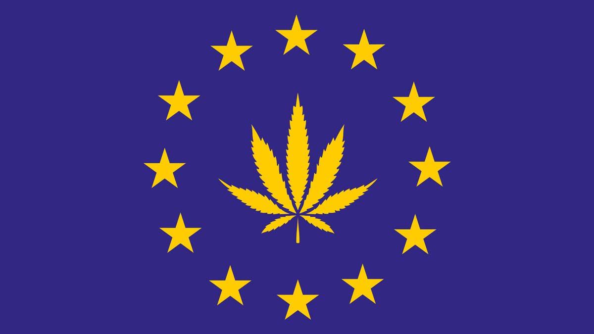 EU Flag with hemp leave