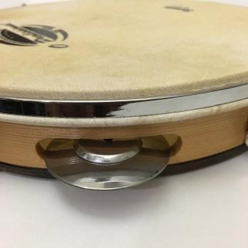 O Profissional 10″ Pandeiro, wood shell, skin head, flat rim, steel platinelas