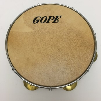 "Gope 10"" pandeiro, wood shell, skin head, brass"