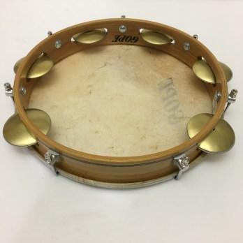 "Gope 10"" pandeiro, wood shell, skin head, flat rim, brass jingles"