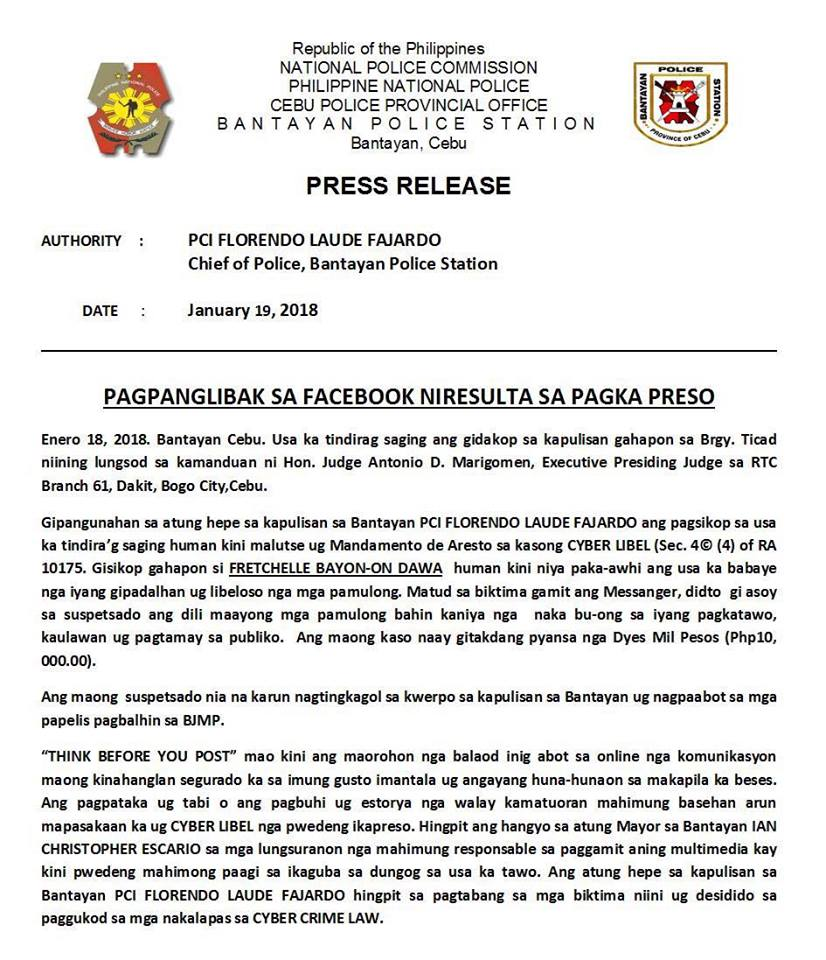 [Image Credit: Bantayan Police Station / Facebook]