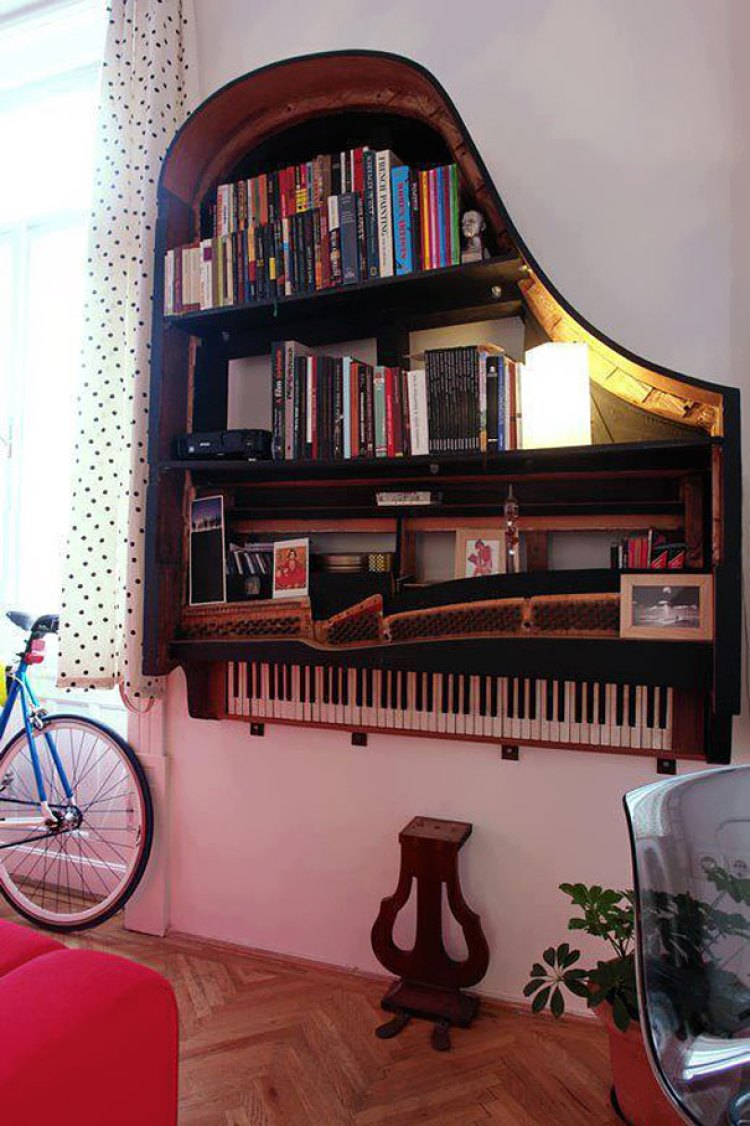 1. Old Piano Turned Into Book Shelf