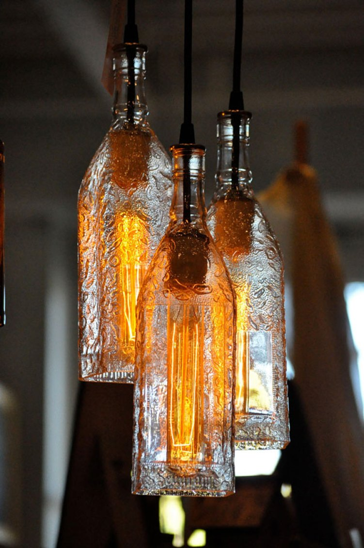 19. Bottles Turned Into Pendant Lamps