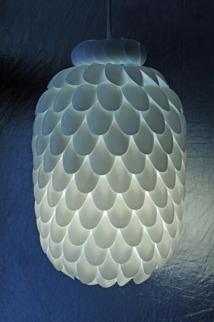 2. Plastic Spoons Turned Into Lamps
