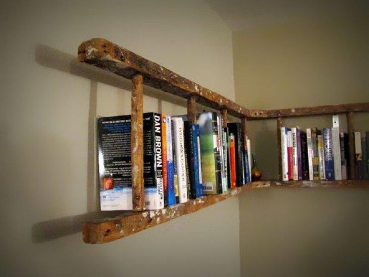 29. Old Ladder Turned Into Book Shelf