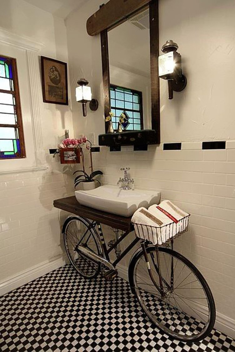 9. Bicycle Turned Into Sink Stand