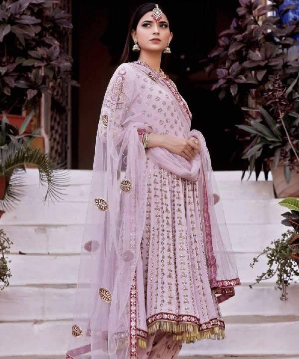 Baby Pink Anarkali with Salwar