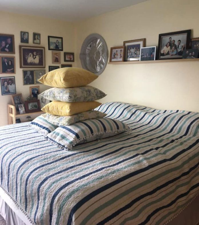 Husband Doesn't Know What To Do With The Extra Pillows When Making The Bed, Hilariously Improvises