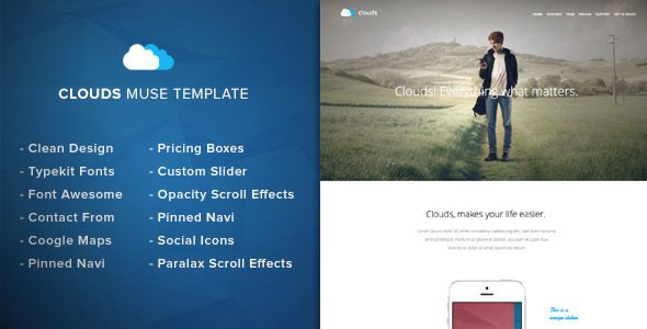 Clouds - Adobe Muse Template free download