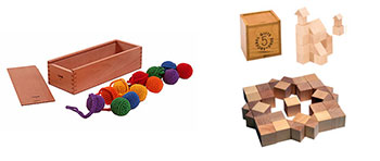 Fig 3. Froebel's first gift (L), balls, and fifth gift (R), cubes and triangular prisms.  Froebel Gifts™. 2013. Web. 5 April 2016.
