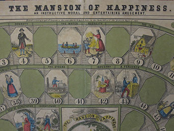 Fig 7. Detail of the board for The Mansion of Happiness.  An Instructive Moral and Entertaining Amusement. Courtesy of The Strong, Rochester, New York, USA.