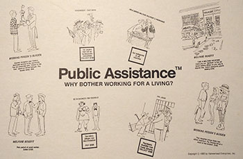 Fig 8. Inside cover of the board game Public Assistance, 1980. Photo by the author.