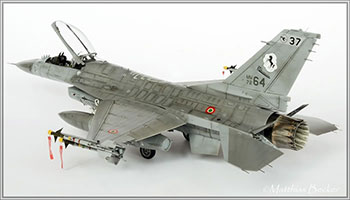 """Fig 19. 1/48 scale model F-16. The detail and weathering retained on this model despite its reduction in size demonstrate its status as a model or collectible. """"Eduard's 1/48 Scale f-16 'NATO Falcons.'"""" HyperScale. 16 January 2013. Web. 7 July 2016. Image copyright Matthias Becker 2013."""