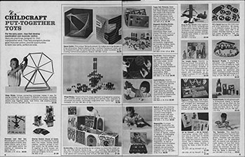 Fig 24. Put-Together Toys section of Childcraft magazine. Toys That Teach. 1967. New York: Childcraft Education Corp., 1967. Print.