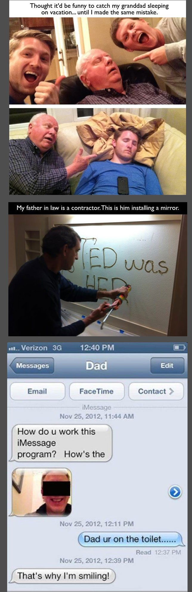 Vader plakt een spiegel, deze ouders zijn hilarisch