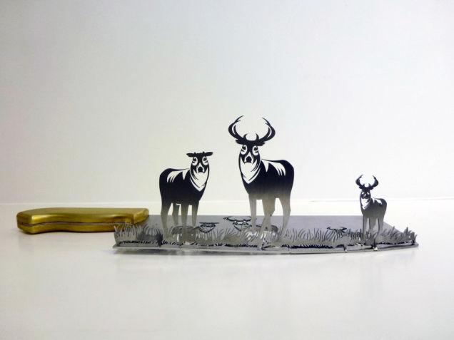 Herten silhouetten gemaakt uit slagersmes