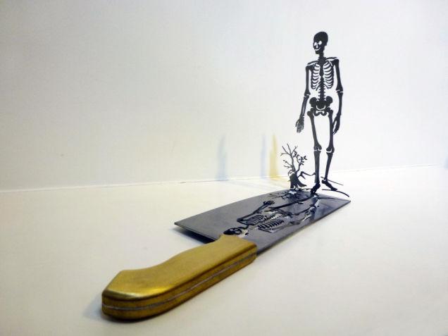 Uit slagersmes gevormd skelet
