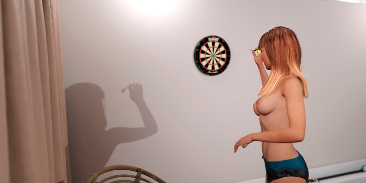 A girl without a bra plays darts on stripping
