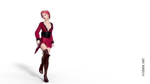 Персонаж игр для взрослых азиатка Кумико араки в красном сексуальном кимоно