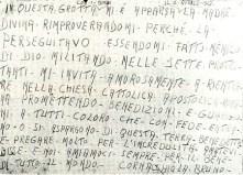 Testemunho de Bruno Cornacchiola grafado por ele próprio na parede da gruta. Os escritos referem-se ao episódio sobrenatural da Virgem que Se apresentou simultaneamente a ele e a seus três filhos