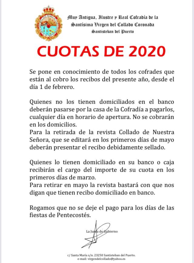 Cuotas Cofrades 2020