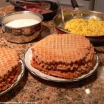 Waffles, eggs, grits, turkey bacon and sausage...dinner time.