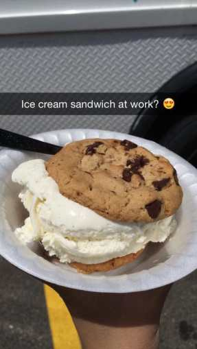 Photo of Ice Cream Cookie Sandwich from The Inside Scoop Food Truck. Courtesy of Yelp.com.