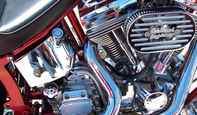 Image of a motorcycle motor. Courtesy of free images.com.