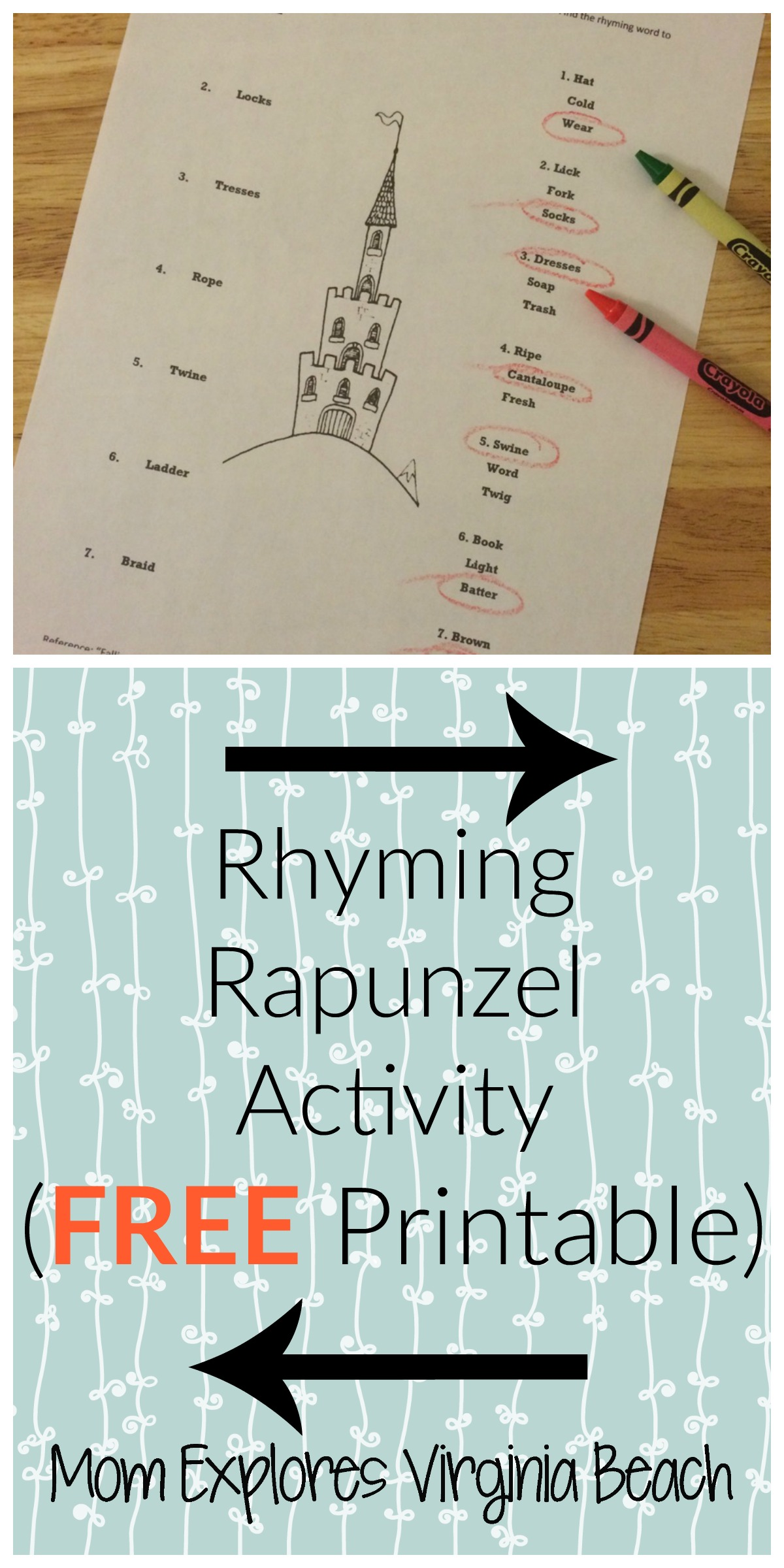 Falling For Rapunzel Rhyming Printable