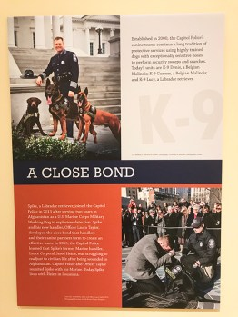 One of the many panels in the exhibit showing the very special K-9 members of the Capitol Police