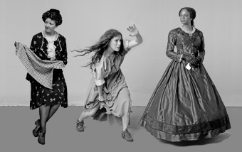 Live modeling and photography were used to produce dynamic poses showing period specific wardrobe for the monument's historical women. Shown left to right are: Laura Copenhaver, Mary Draper Ingles and Elizabeth Keckly.