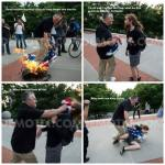 Older man assaults younger man for burning a flag