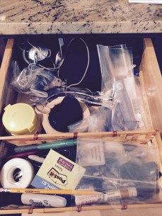Before - a kitchen catch all drawer!