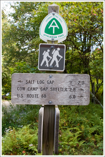 The Appalachian Trail crossing is well-marked. Park across from this sign in a small lot.