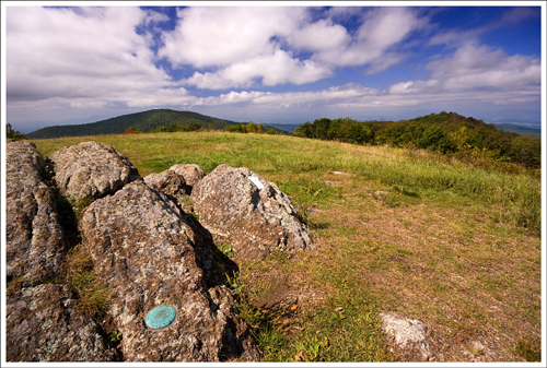 The Cold Mountain summit is open and offers panoramic views in every direction. In this shot you can see the white Appalachian Trail blaze and the USGS benchmark.