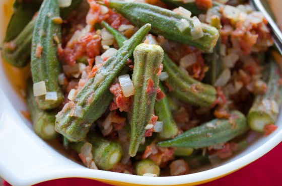 spicy okra and tomatoes on www.virginiawillis.com
