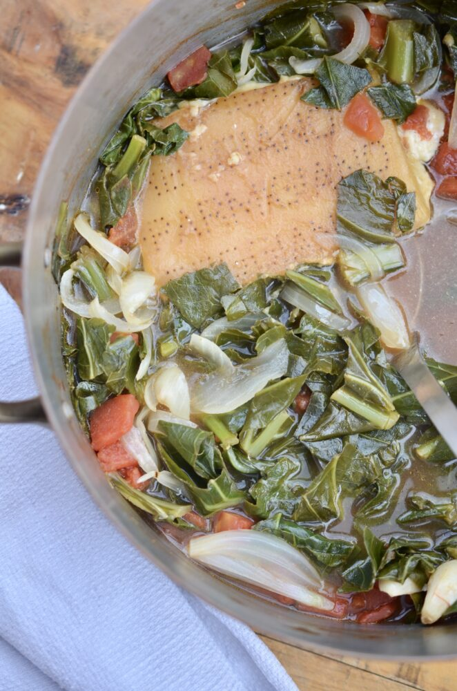 Vegetarian Parmesan Broth Collard Greens