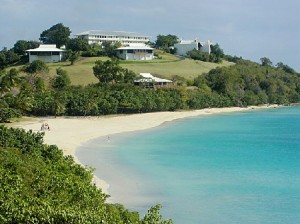 On the west side of st. Thomas is brewers beach, a nice stretch of sand with snorkeling and blue water.