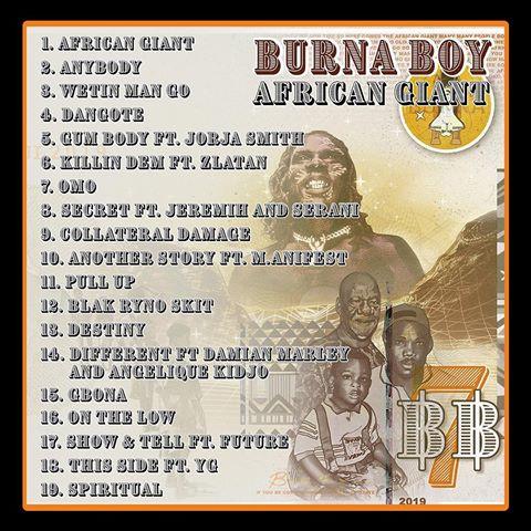 burna boy african giant album list