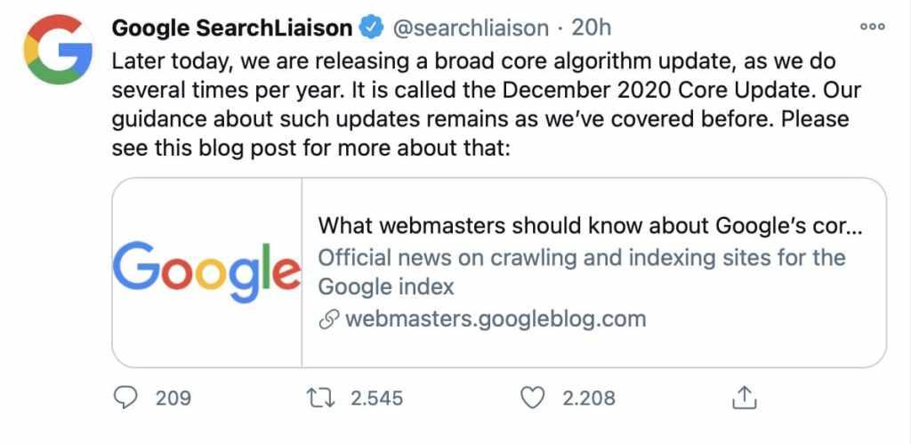 core update dicembre 2020 google